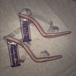 Charlotte Russe Crystal Filled Block Heels